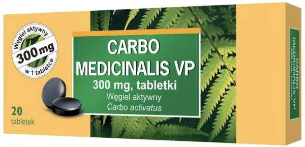 CARBO Medicinalis węgiel 300mg x 20 tabletek
