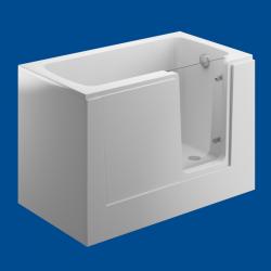 Wanna z drzwiami i siedziskiem dla osób starszych i niepełnosprawnych biała PERE z zintegrowaną obudową 135cm