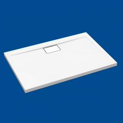 Brodzik posadzkowy najazdowy dla osób starszych i niepełnosprawnych biały akrylowy 100x80