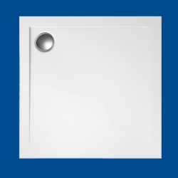 Brodzik posadzkowy najazdowy dla osób starszych i niepełnosprawnych biały akrylowy 100x100