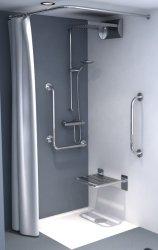 Zasłonka prysznicowa tekstylna biała/beż 180x200cm