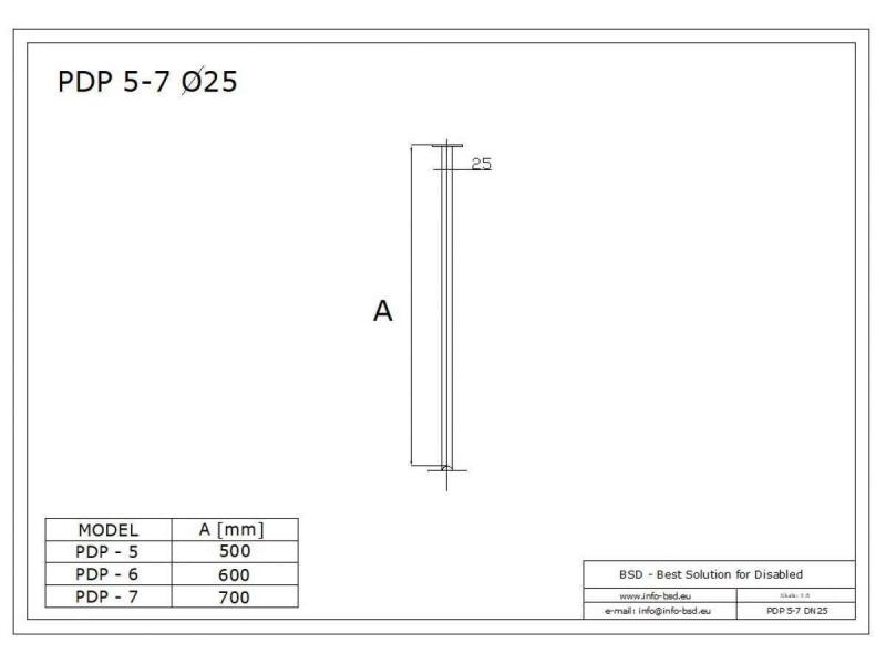 Podwieszenie drążka stałe 60cm stal nierdzewna fi25