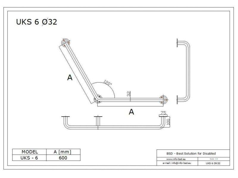 Uchwyt Kątowy dla Niepełnosprawnych specjalny 60/60cm biały fi32 + MASKOWNICE