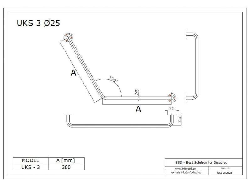 Uchwyt Kątowy dla Niepełnosprawnych specjalny 30/30cm biały fi25