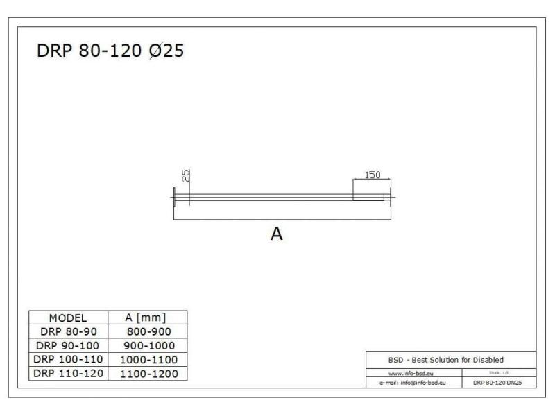 Drążek prosty regulowany 100x110  stal nierdzewna fi25