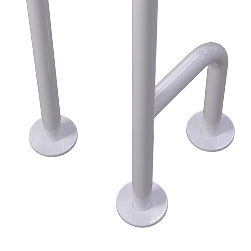Uchwyt WC dla Niepełnosprawnych mocowany do podłogi lewy biały fi32 + MASKOWNICE