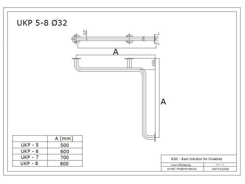 Uchwyt kątowy Prysznicowy dla Niepełnosprawnych 50/50cm biały fi32 + MASKOWNICE