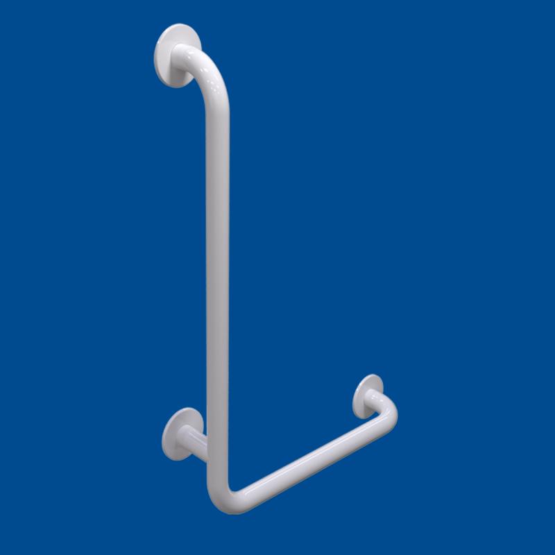 Uchwyt Kątowy dla Niepełnosprawnych lewy 80/40cm biały fi32 + MASKOWNICE