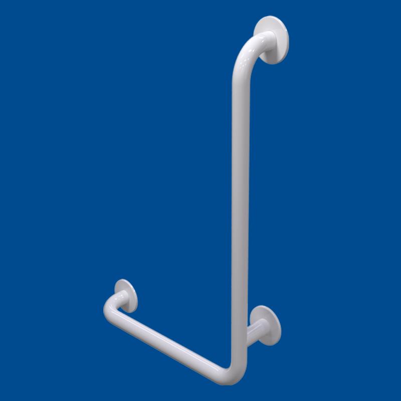Uchwyt Kątowy dla Niepełnosprawnych prawy 80/60cm biały fi32 + MASKOWNICE