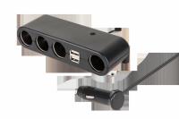 Rozgałęziacz gniazda zapalniczki x4 z kablem i USB