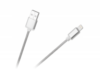 Kabel USB - Lightning M-Life do Apple iPhone nylon srebrny 1m