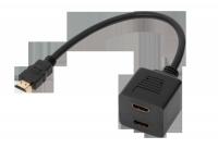 Adaptor HDMI wtyk-2 x gniazdo na kablu 30cm