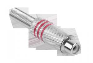 Gniazdo RCA srebrne 3 paski na kabel czerwone