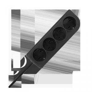 Przedłużacz bez uziemienia  2x1mm 4 gniazda 3m czarny PSN-43-2