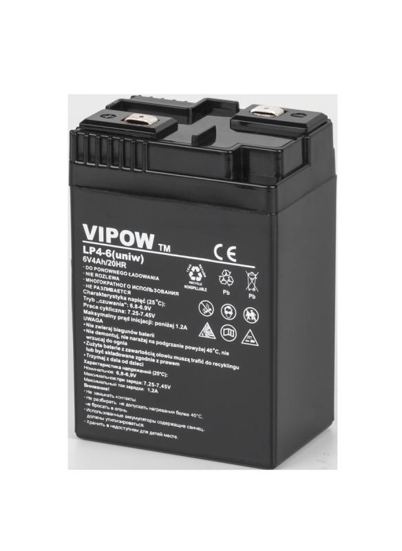 Akumulator żelowy VIPOW 6V 4Ah (uniw.)