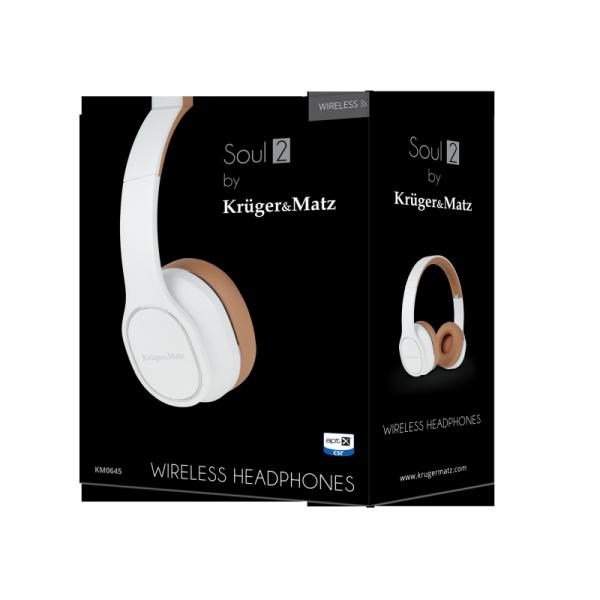 Bezprzewodowe słuchawki nauszne Kruger&Matz Soul 2 Wireless, białe