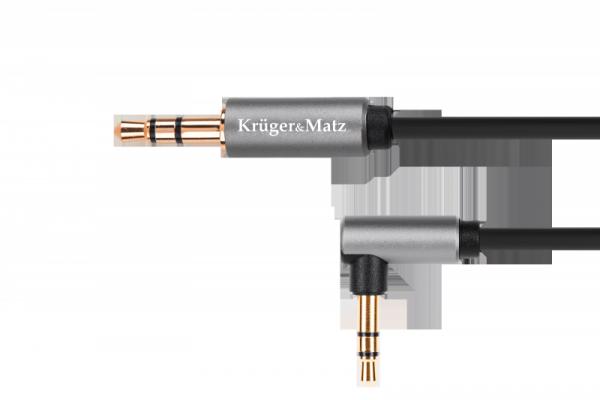Kabel jack 3.5 wtyk kątowy stereo - 3.5 wtyk stereo 1.8m  Kruger&Matz Basic