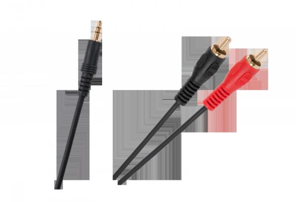 Kabel JACK 3,5-2xRCA złote końcówki czarny