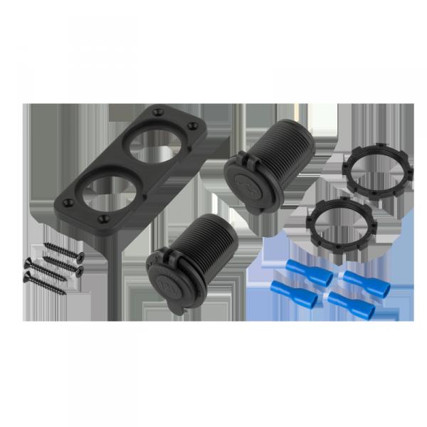 Ładowarka samochodowa 2xUSB 3100 mA + gniazdo zapalniczki do montażu