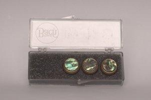 Nakrętki z kamieniami szlachetnymi do wentyli tłokowych do trąbki Vincent Bach Valve Buttons Paua Abalone posrebrzane