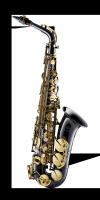 Saksofon altowy Forestone lakierowany, zdobiony, GX black nickel plated with gold lacquer keys wystawowy