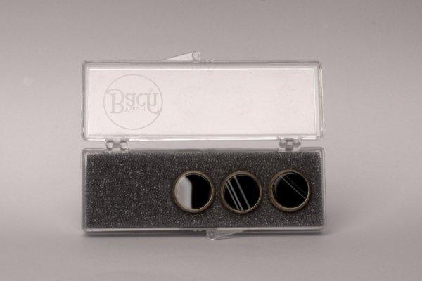 """Nakrętki z kamieniami szlachetnymi do wentyli tłokowych do trąbki Vincent Bach Valve Buttons """"B&W Sardonyx"""" pozłacane"""
