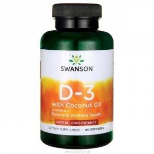 Swanson Witamina D-3 2000IU z olejem z kokosa