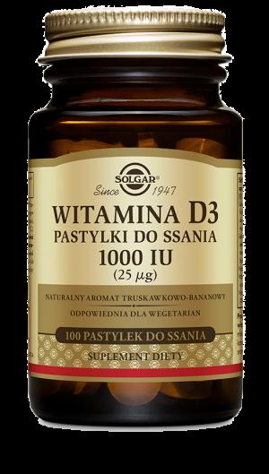 Solgar Witamina D3 pastylki do ssania 25ug (1000 IU)