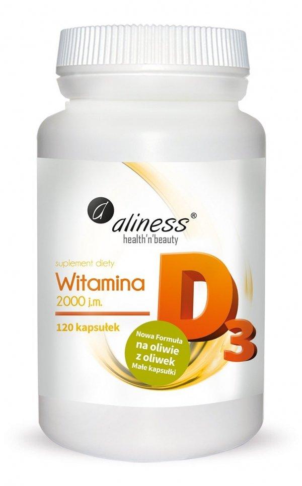 Aliness Witamina D3 2000IU 120 kapsułek  (odporność, zdrowe kości,  mięśnie)