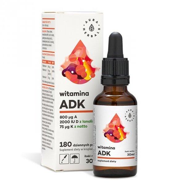 Witamina A + D3 (2000IU) + K2mk7 (ADK) - krople (30ml) Aura Herbals