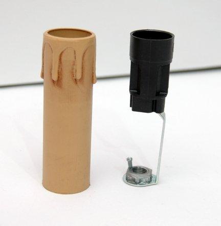 5x świeczka osłonka gilza26 z oprawką E14 ANTYK 85mm