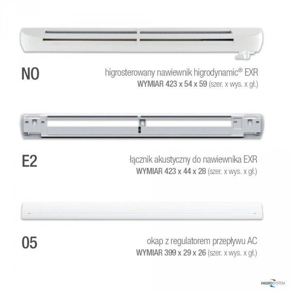 Nawiewnik higrosterowany EXR.HP + łącznik akustyczny + okap AC - 5 kolorów