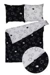 Pościel 140x200 BARANKI, 100% bawełna, wz. czarno-biały