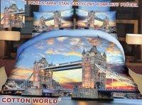 Pościel Premium Mikrowłókno 3D roz. 220x200 z prześcieradłem i jaśkami wz. FPW142 TOWER BRIDGE! LONDYN