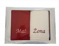 Komplet ręczników Mąż i Żona kolor bordowy/ecru