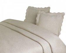 Narzuta GRENO Żakardowa na łóżko 170x210 wz.  FLOWER krem