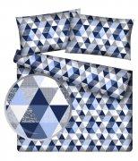 Poszewka 50x60 na zamek -100% bawełna wz. Trójkąciki niebiesko-białe