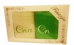 Komplet ręczników Ona i On kolor krem-zielony