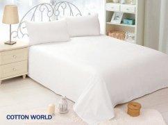 Prześcieradło białe hotelowe, prześcieradło COTTON WORLD 160x200 bez gumki, 100% bawełna