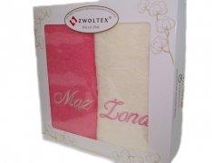 Komplet ręczników Żona i Mąż kolor Róż - Ecru
