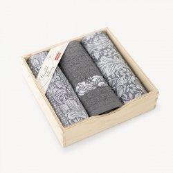 Komplet kuchenny dwóch ścierek  50x70 + ręcznik kuchenny 30x50 wz. Ogród szary
