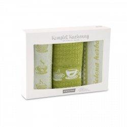 Komplet kuchenny dwóch ścierek 50x70 + ręcznik kuchenny 30x50 wz. Herbata zielona