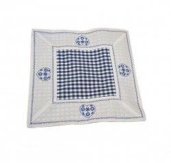 Walentynkowy Ozdobny obrus haftowany rozmiar 30x30 9247 HG Kolor: biało-niebieski