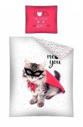 Pościel młodzieżowa 100% bawełna 160x200 lub 140x200  -  wzór: kotek zorro 2498