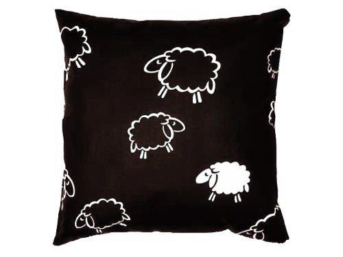 Poszewka na poduszkę BARANKI 50x60 - 100% bawełna, wz. czarne