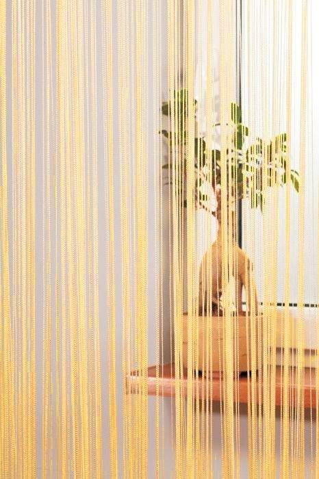 Firanka sznurkowa Makarony 300x250 kolor: kremowy