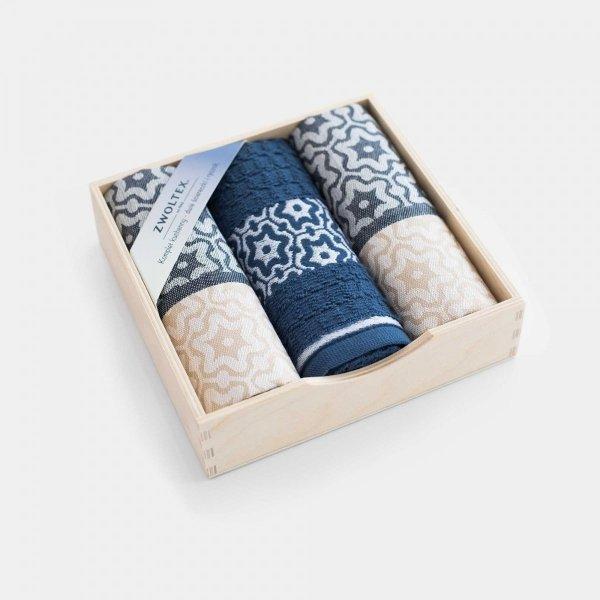 Komplet kuchenny dwóch ścierek  50x70 + ręcznik kuchenny 30x50 wz. beż-indygo