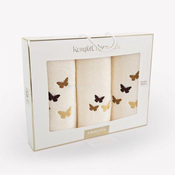 Trzyczęściowy komplet ręczników MELON w pudełku - wz. MOTYLE K1