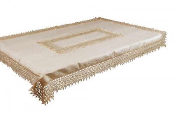 Obrus gipiurowy rozmiar 110x160 wzór beż/złoty (144)
