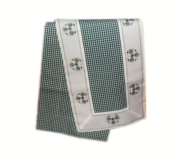 Walentynkowy Ozdobny obrus haftowany rozmiar 40x170 9247 HG Kolor: biało-zielony